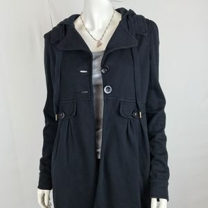Juicy Couture Jackets & Coats - Juicy Couture Black Coat with Hood and Collar